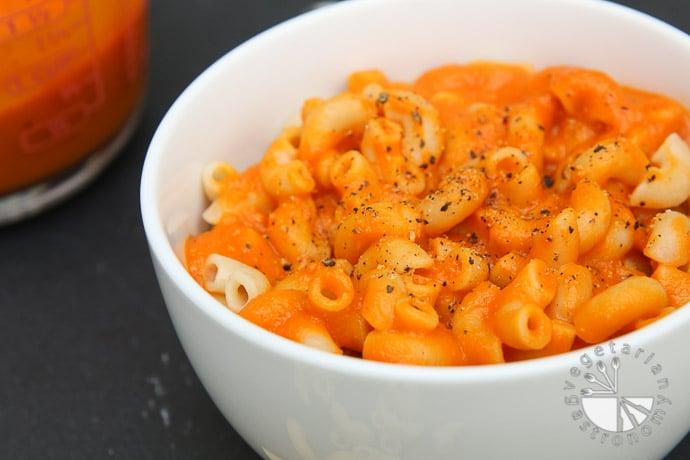 creamy carrot tomato pasta-6
