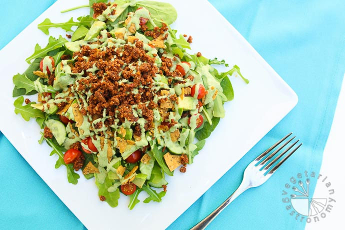 the ultimate taco salad with savory walnut sundried tomato crumble-1