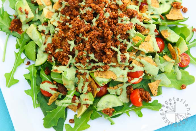 the ultimate taco salad with savory walnut sundried tomato crumble-2-2