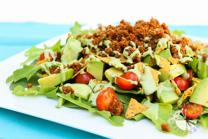 the ultimate taco salad with savory walnut sundried tomato crumble-3