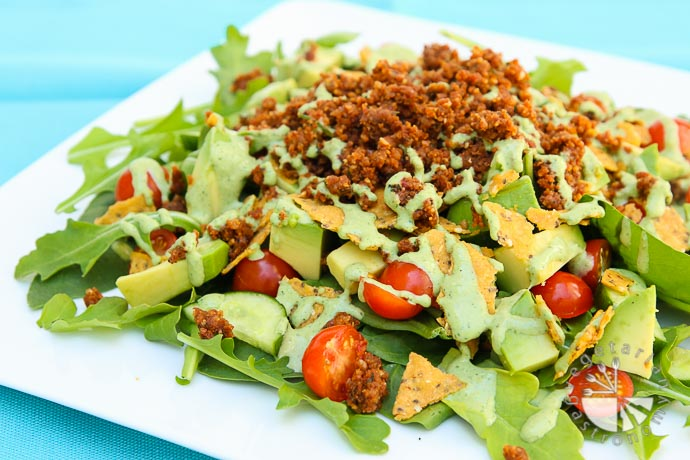 the ultimate taco salad with savory walnut sundried tomato crumble-4
