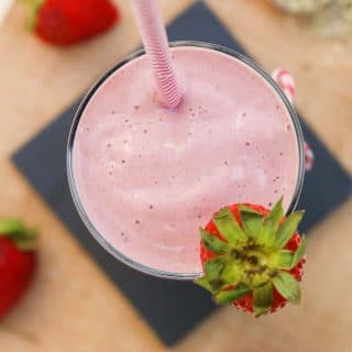 Healthy Strawberry Hemp Milkshake Recipe (Vegan)