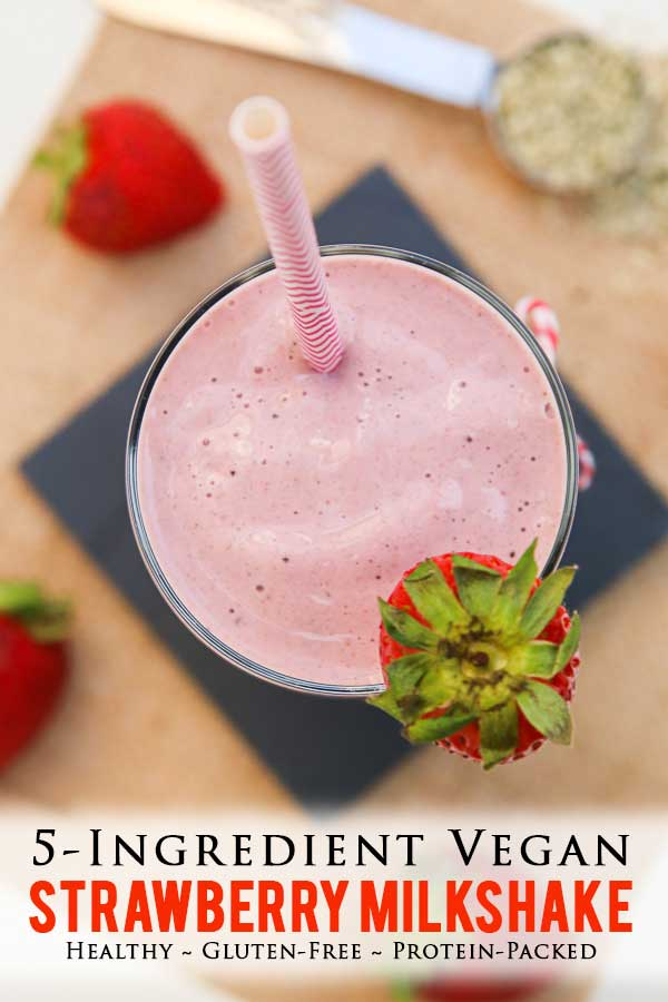 This thick and creamy vegan 5-ingredient STRAWBERRY MILKSHAKE Recipe is full of protein and makes for the perfect breakfast, snack, or dessert on Valentine's Day! It's vegan, gluten-free, and refined-sugar free! #valentinesdaydessert #vegandrinks #strawberrymilkshake #healthyeats #vegansmoothie #hempseeds