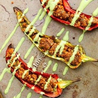 Stuffed Anaheim Peppers with Creamy Cilantro Tahini Sauce