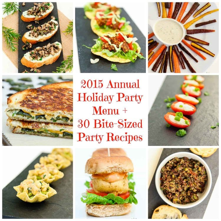 2015 annual holiday party menu 30 vegan bite sized party recipes 2015 annual holiday party menu 1 forumfinder Image collections