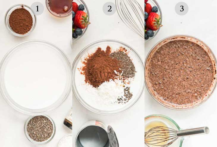 A collage of 3 photographs showing step by step instructions on how to make chocolate chia pudding pie.