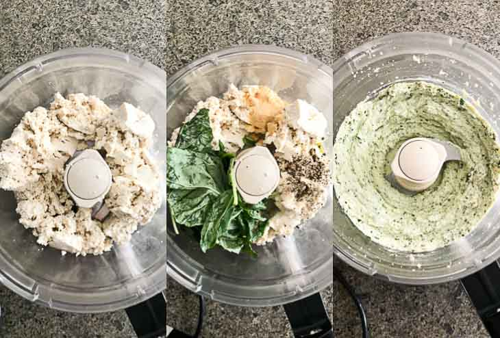 A collage of 3 photographs showing steps on how to prepare tofu ricotta with 5 ingredients in a food processor.