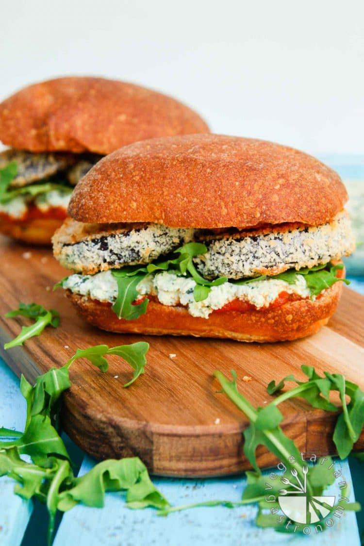 Crispy Eggplant Parmesan Sandwich - Vegetarian Gastronomy