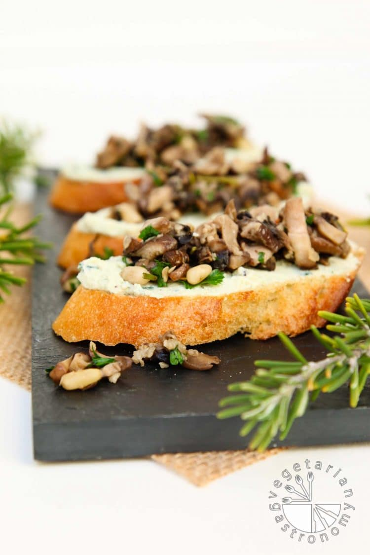 Mushroom Crostini With Garlic Basil Vegan Ricotta Cheese Spread Vegetarian Gastronomy