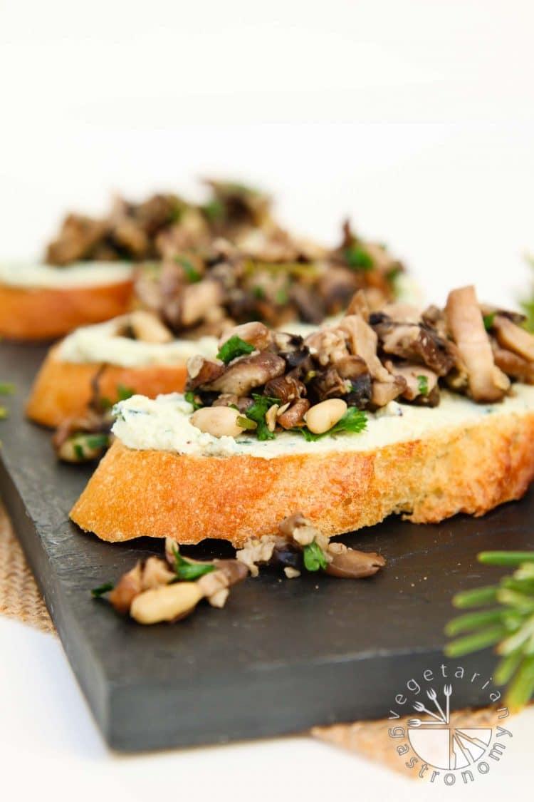 "Mushroom Crostini with Garlic Basil Vegan Ricotta ""Cheese"" Spread ..."