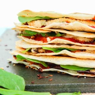 grilled crispy eggplant & spinach vegan quesadillas
