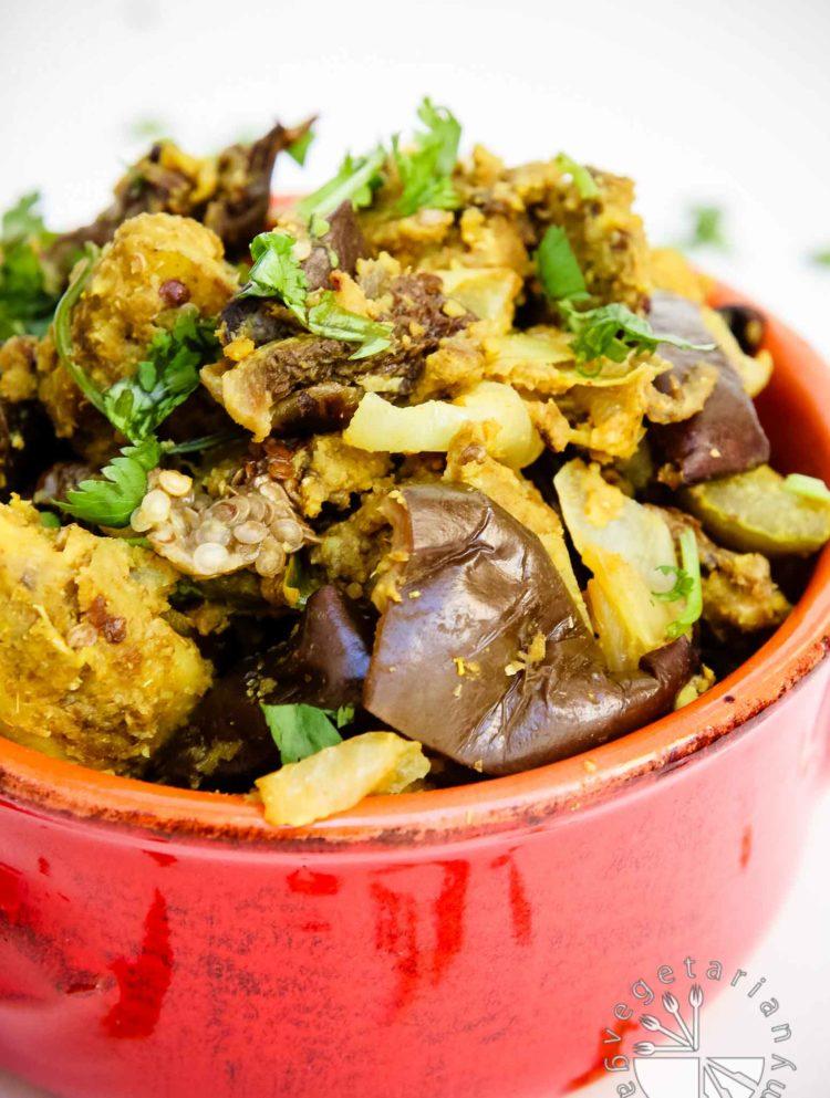 indian spice stuffed eggplants and potatoes