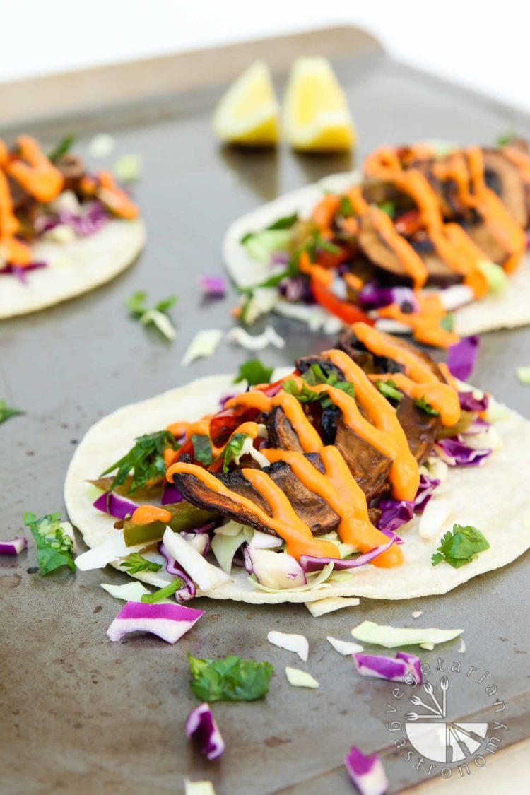 roasted balsamic portobello tacos with spicy red pepper sauce-1