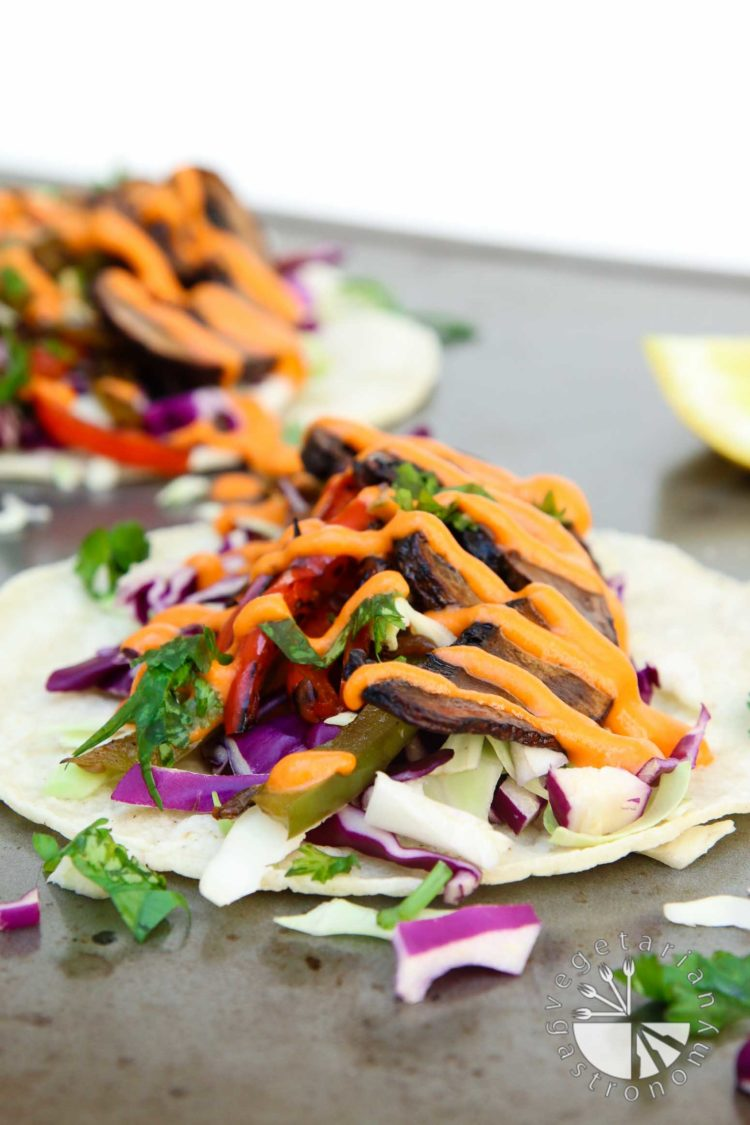 roasted balsamic portobello tacos with spicy red pepper sauce-6