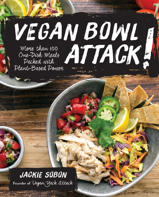 A book cover of vegan bowl attach by Jackie Sobon