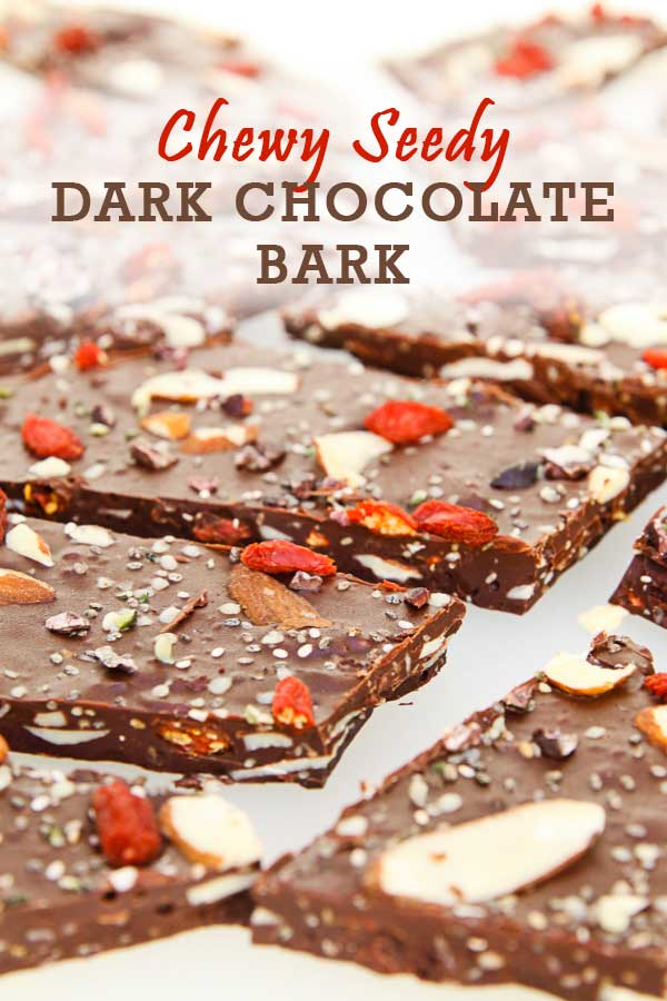 This Chewy, Seedy Healthy Dark Chocolate Bark is crazy good and has quickly become one of my favorite combinations. It's made with chia and hemp seeds, nuts and berries. Getting your chocolate fix doesn't need to be unhealthy! #darkchocolate #healthychocolate #chocolatebark #veganchocolate