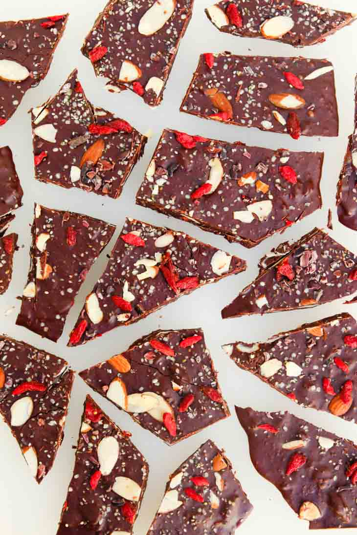 Broken dark chocolate bark with nuts and seeds