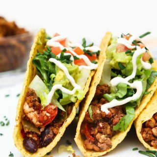"""Loaded Black Bean Tofu Tacos with """"Meatless"""" Walnut Crumble"""