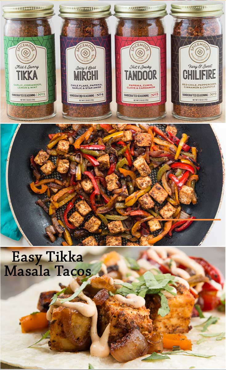 These Easy Tikka Masala Tacos are filled with crispy Tikka Masala tofu, grilled onions and peppers, fresh herbs, and a cool creamy vegan chilifire crema! #vegan #glutenfree | vegetariangastronomy.com