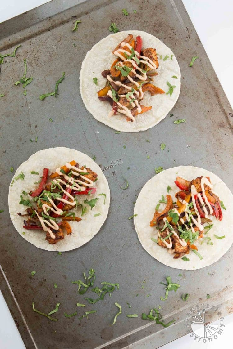 Crispy Tofu Tikka Masala Tacos with Peppers, Onions, and Chilifire Crema #vegan #glutenfree | vegetariangastronomy.com