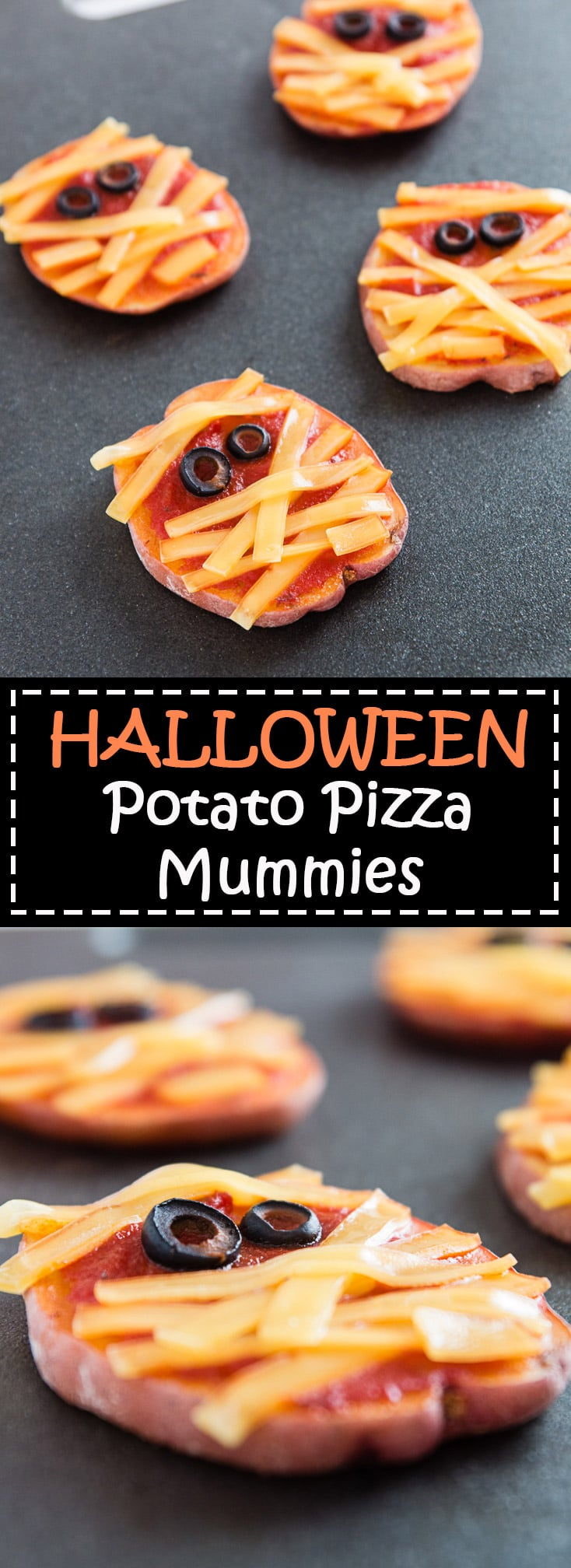 These Halloween Potato Pizza Mummies are perfect for a quick, easy, and fun dinner idea! #vegan #glutenfree | vegetariangastronomy.com