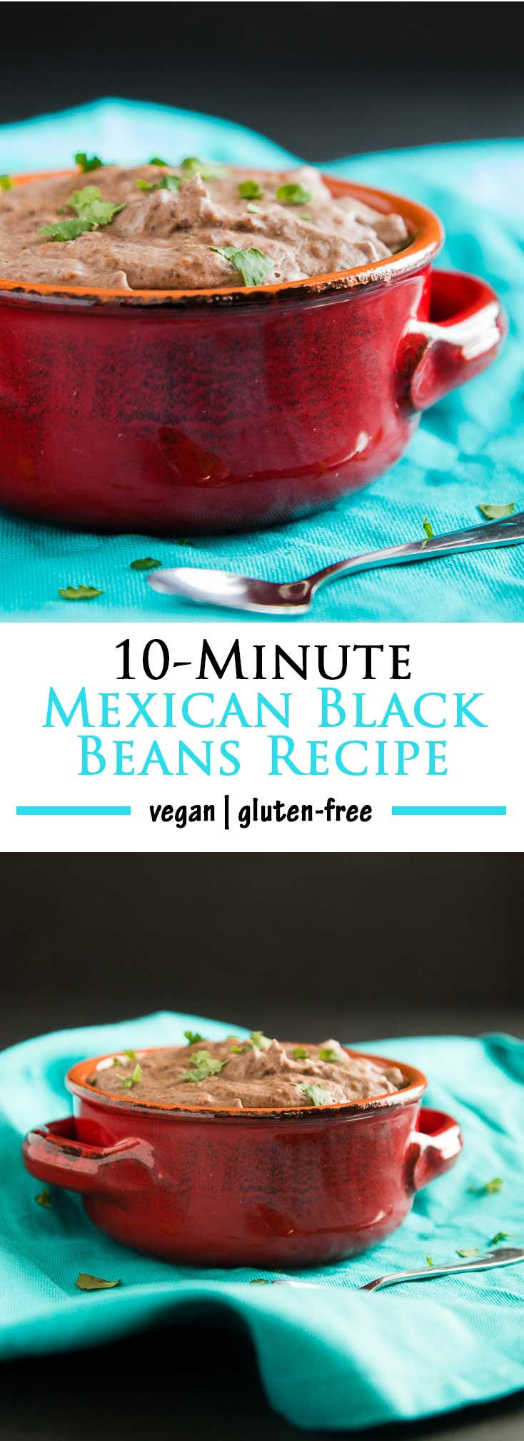 Take your go-to meal up a notch by making these healthy vegan 10-Minute Mexican Black Beans Recipe! No extra time, ALL the extra flavor and deliciousness! #vegan #glutenfree   vegetariangastronomy.com