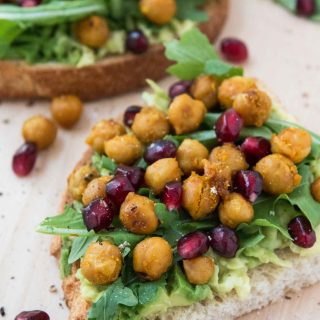 Loaded Avocado Toast Recipe with Roasted Chickpeas & Pomegranates