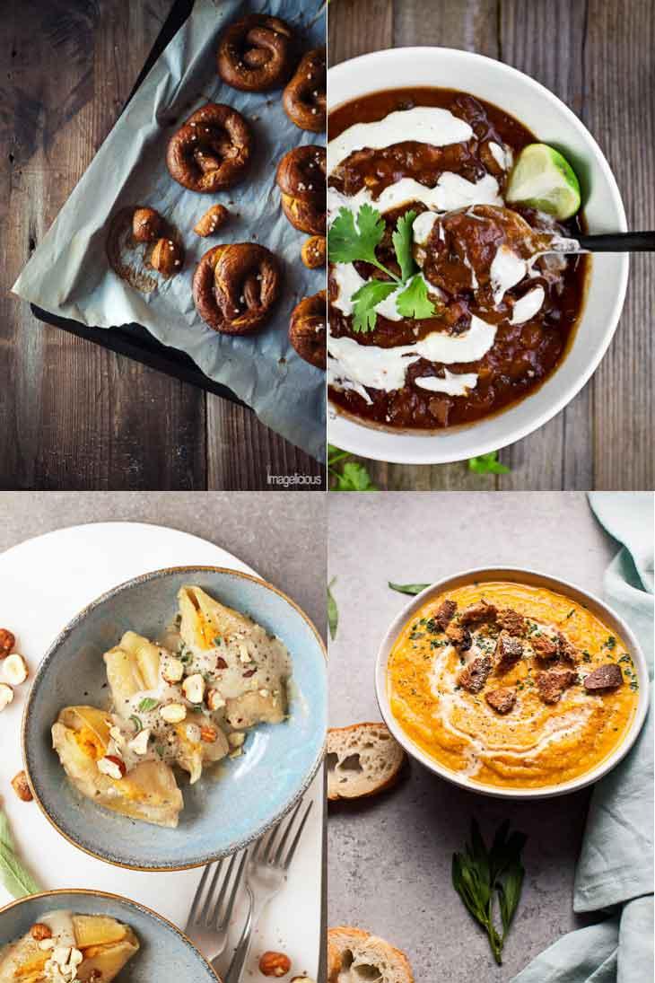 4 photographs of savory vegan pumpkin recipes