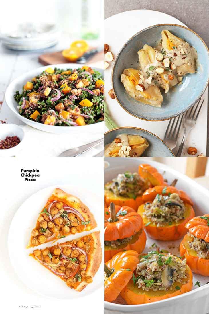 4 photograph collage of savory main vegan pumpkin recipes.