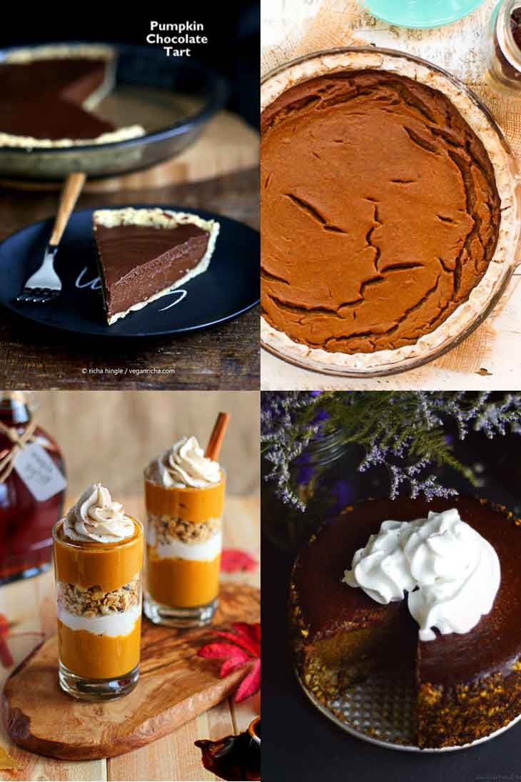 Collage of vegan pumpkin recipes consisting of pies and cheesecakes.