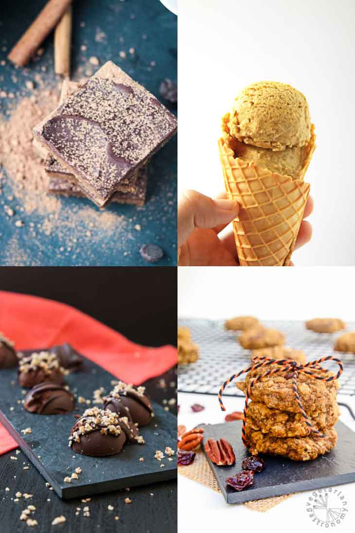 Collage of vegan pumpkin recipes consisting of brownies, cookies, chocolates, and ice cream.