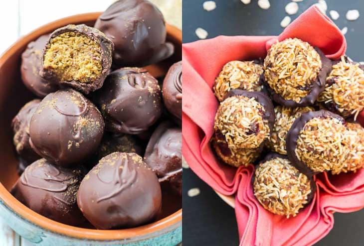 Collage of vegan pumpkin recipes consisting of no-bake balls and snacks.
