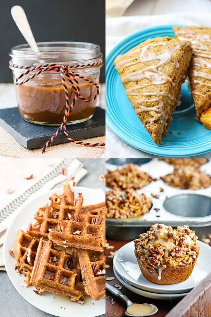 Collage of vegan pumpkin recipes consisting of scones, waffles, muffins, and breakfast items.