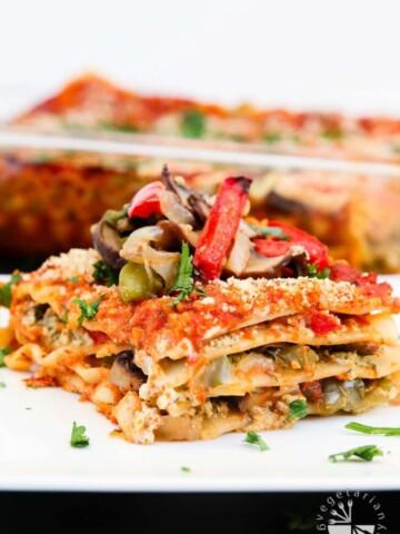 Vegan Lasagna Recipe with Roasted Veggies and Garlic Herb Ricotta #vegan #glutenfree | www.vegetariangastronomy.com