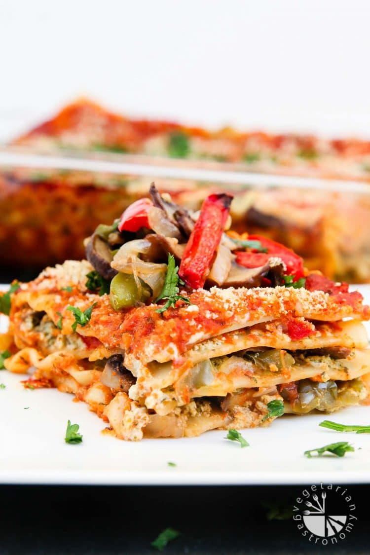 Vegan Lasagna Recipe with Roasted Veggies & Garlic Herb Ricotta + Our India Trip - Vegetarian Gastronomy