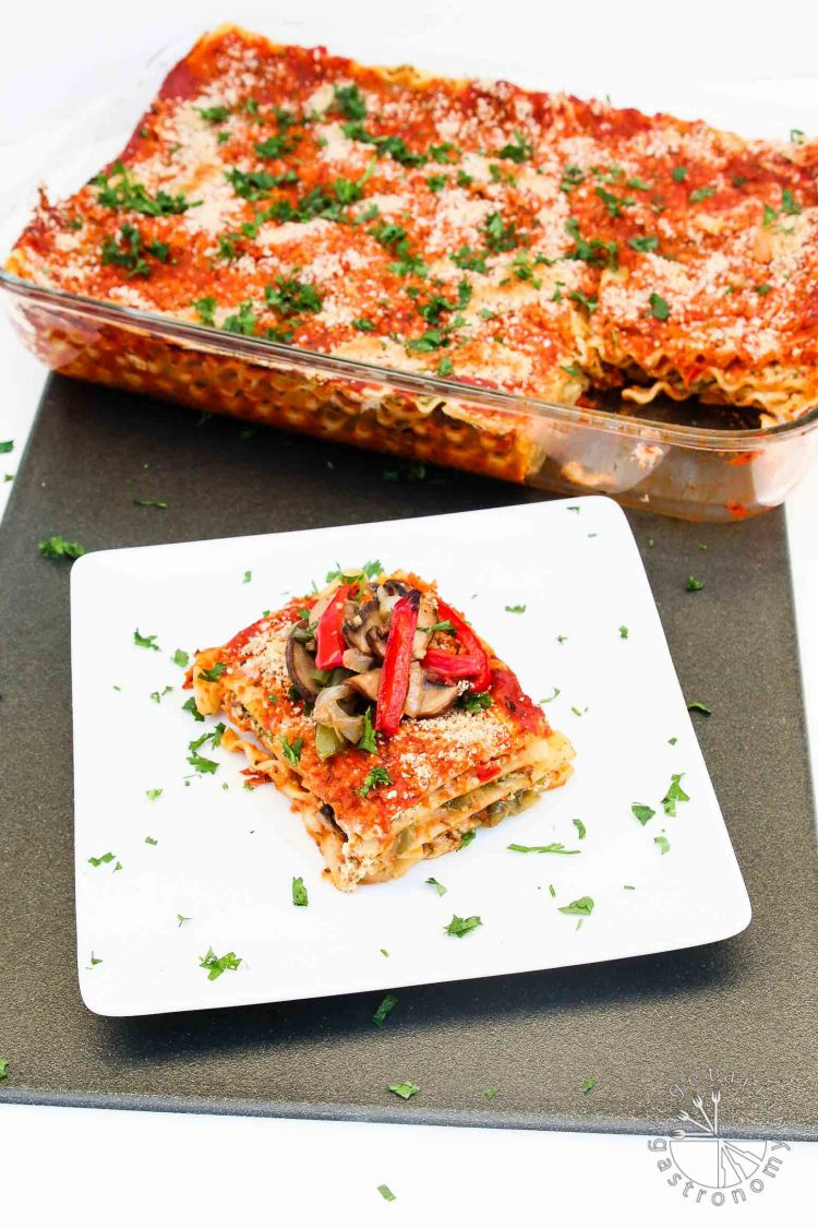 Vegan Lasagna Recipe with Roasted Veggies and Garlic Herb Ricotta #vegan #glutenfree | www.vegetariangastronomy.com