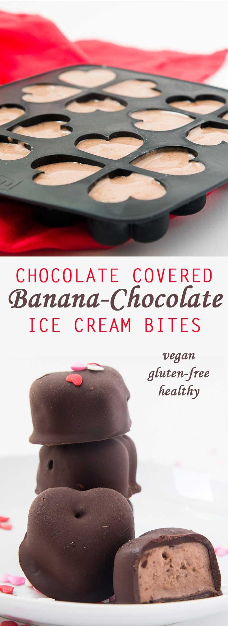 Chocolate Covered Banana-Chocolate Ice Cream Bites #vegan #glutenfree #healthy   www.Vegetariangastronomy.com
