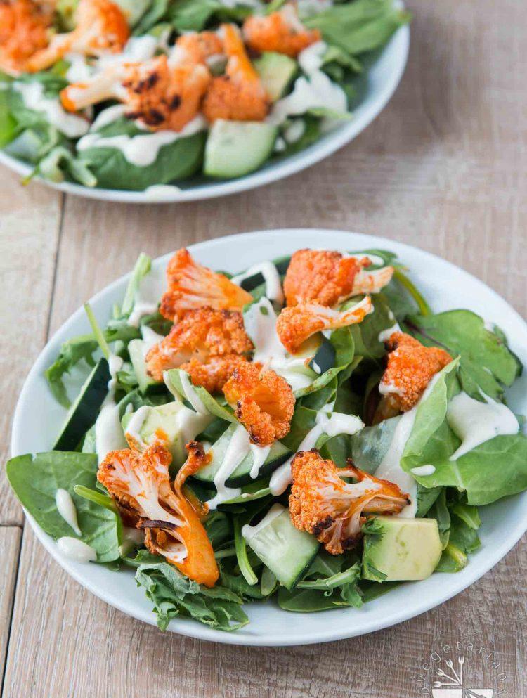 Mixed Green Salad with Buffalo Roasted Cauliflower, Avocado, Vegan Cucumber Ranch #vegan #glutenfree | www.VegetarianGastronomy.com
