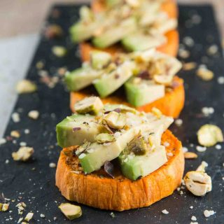 Sweet Potato Avocado Toast with Hemp Seeds and Pistachios
