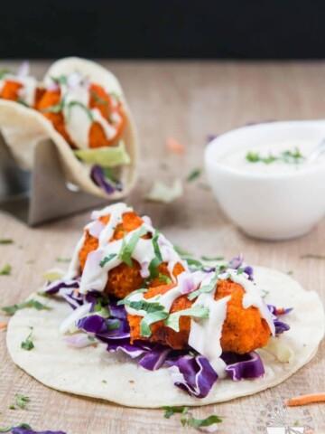 Vegan Buffalo Cauliflower Tacos with Cucumber Ranch #vegan #glutenfree | www.VegetarianGastronomy.com