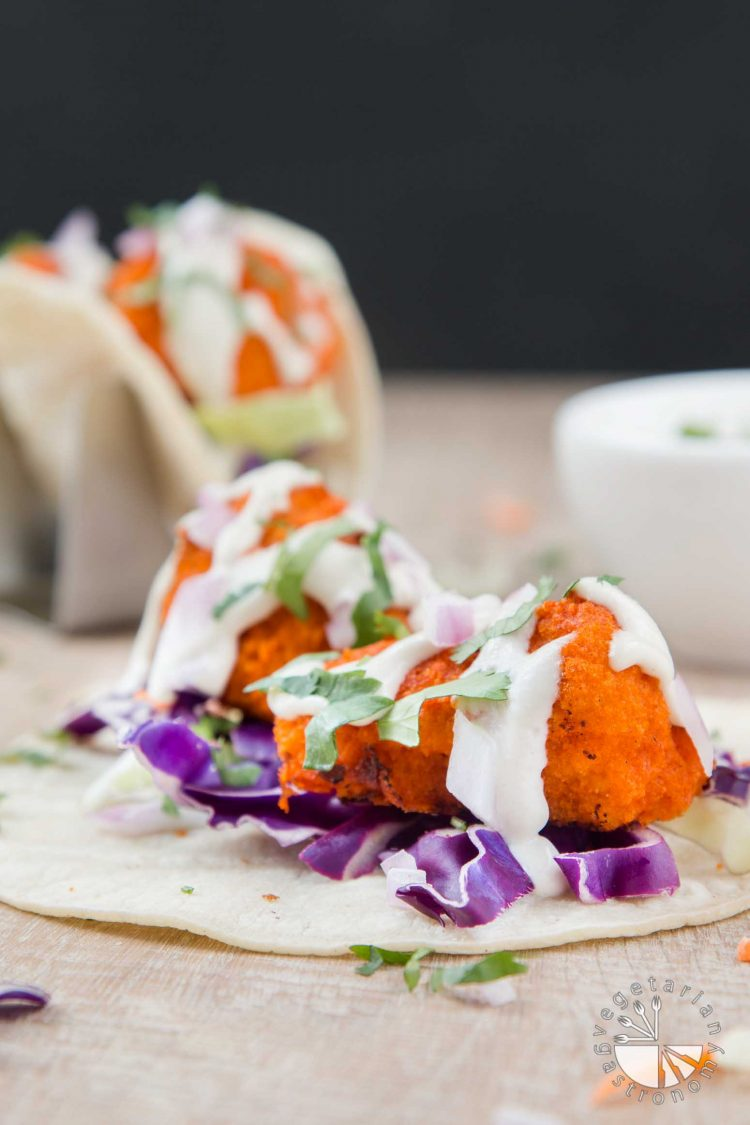 Vegan Buffalo Cauliflower Tacos with Cucumber Ranch #vegan #glutenfree | www.VegetarianGastronomy.com