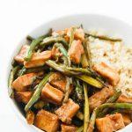 Teriyaki Tofu stir fry over cooked quinoa