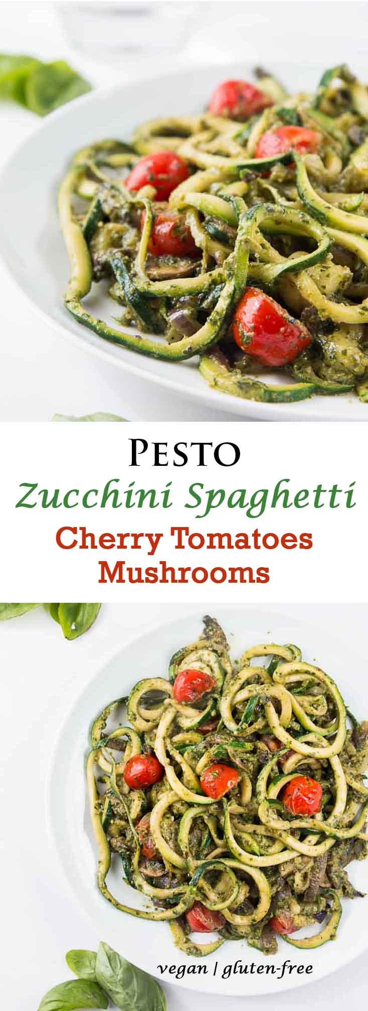 Pesto Zucchini Spaghetti Recipe with Cherry Tomatoes & Mushrooms #vegan #glutenfree   Vegetarian Gastronomy   www.Vegetariangastronomy.com