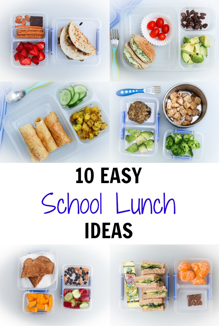 Photo collage of easy school lunch ideas.