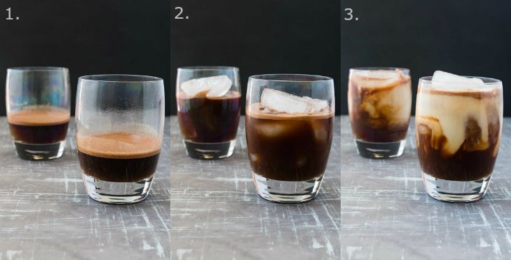 A collage of three photographs showing how to make an iced mocha recipe.