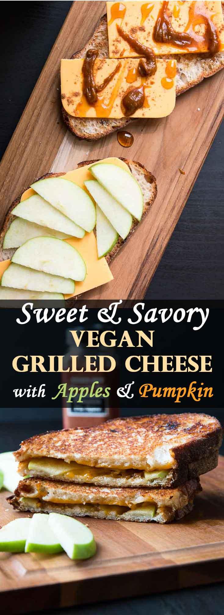 Sweet & Savory Vegan Grilled Cheese with Apples and Pumpkin #vegan | Vegetarian Gastronomy | www.VegetarianGastronomy