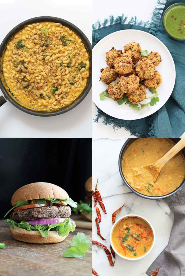 A collage of four recipe photographs from 'vegan richa's everyday kitchen' new cookbook.