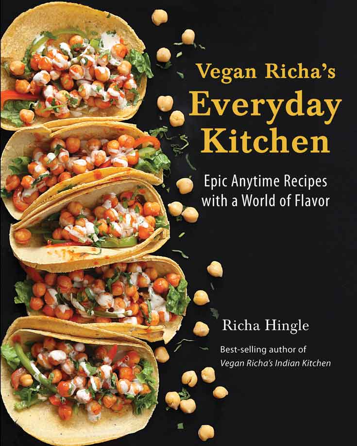 The front cover of vegan richa's everyday kitchen cookbook.