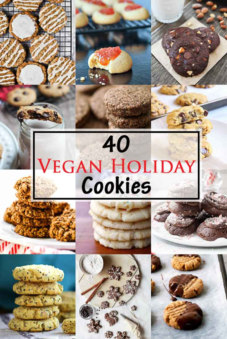Collage of best vegan cookies for the holidays.