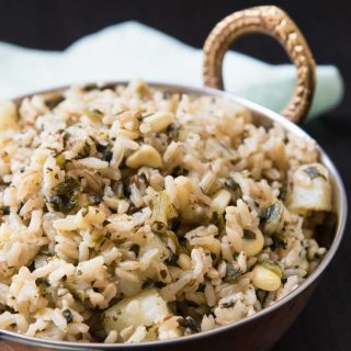 Quick Indian Brown Rice Pulau Recipe with Spinach, Corn, & Potatoes